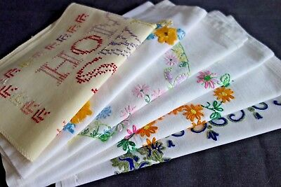 Job Lot Bundle Vintage Embroidered Cotton Tray Cloths Table Mats Floral Patterns