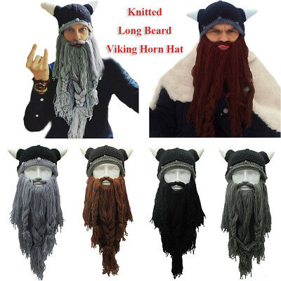Men's Handmade Knit Viking Beard Horn Hat Funny Crazy Winter Warm Wool Ski Cap