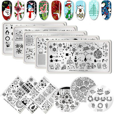 BORN PRETTY Christmas Nail Stamping Plates Rectangle Square Stamp Image Template