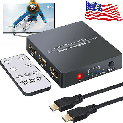 4 Port HDMI Switcher Hub 4K 3D PIP 4 In 1 Out +IR Remote for PS3 PS4 Laptop HDTV