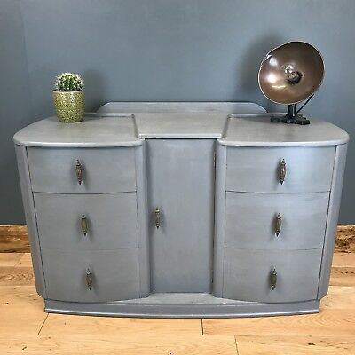 Vintage Art Deco Vanity Dressing Table Bedroom Drawers Painted Shabby Chic Grey