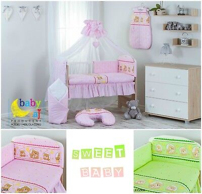 Baby Infant Cot Crib Bumper Safety Protector Toddler Nursery Bedding Set bears