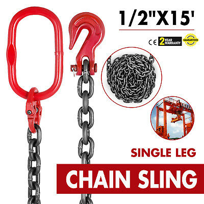 "1/2"" x 15' GRADE 80 Chain Sling SGG Single Leg Grab Hooks Lifting Rigging"