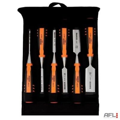 6 Piece Bahco 424-P Bevel Edge Chisel Set with Pouch 6, 10, 12, 18, 25 & 32mm