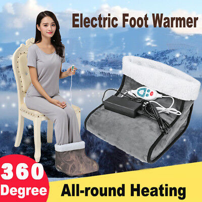 Electric Heated Feet Comfort Fleece Suede Comfy Relaxing Foot Massager Warmer