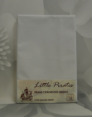 2 x Baby Pram/Crib/ Moses Basket  Flat Sheet 100% Cotton White