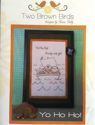 Yo Ho Ho pirates boat embroidery Fiona Tully Two Brown Birds design