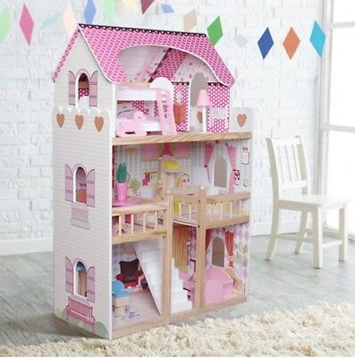 Kids Wooden 3 Story Dolls House With 17PCS Furnitures Couture