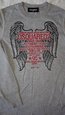 boys designer grey DSQUARED2 long sleeve top tshirt age 7-8 8A rrp £100