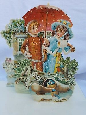 Mamelok 3-D Greeting Card w/Envelope- Vintage Children In The Christmas Snow