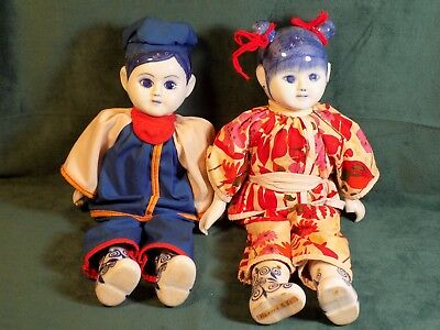 Vintage Traditional Chinese Dolls with Blue White Porcelain Head, Hands and Feet