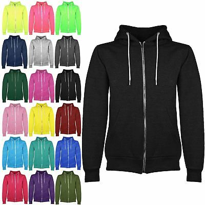 New Kids Zip Up Fleece Plain Childrens Sweatshirt Hoodie Boys Hoody Jacket Top