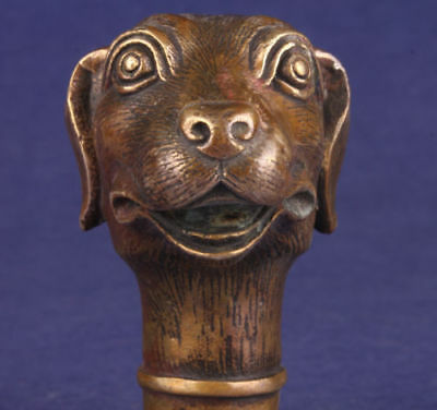 Bronze Statue Lovely Dog Walking Stick Handle Collectable Cane Head Decoration