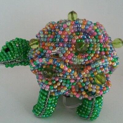 Vintage Beaded Lamp and Shade light bulb Handmade Turtle Theme Metal Beads Room