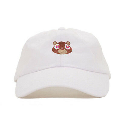 e76ff570390 Kanye West Dropout Bear Dad Hat Embroidered White Cap Yeezus Snap Back Caps