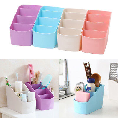 Plastic 4 Grids Desk Organizer Desktop Office Pencil Holder Sorting Storage Box