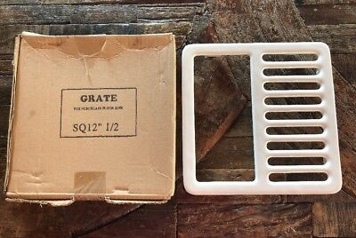 "White Floor Sink - Top Grate 12 1/2"" Drain Cover Measures 9 1/4"" Brand New."