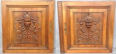 Pair of heavy antique french furniture doors early 1900's walnut Henri II fawns