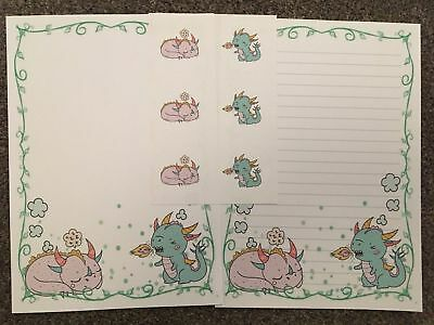 Cute Dragons 25 Sheets of letter writing paper & 6 stickers stationery set