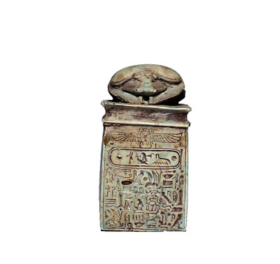 VERY Unique Egyptian Scarab Beetle With Hieroglyphics Pharaonic Coffin