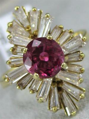 Estate 2.79Ctw Diamond Round Ruby 18K Yellow Gold Star Cocktail Ring 21Mm 225086
