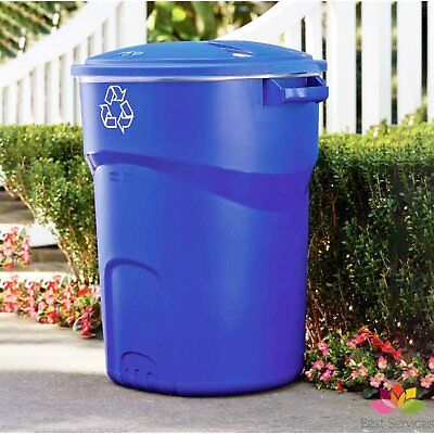RUBBERMAID RECYCLING BIN Trash Garbage Can Kitchen Outdoor Waste Basket Lid Blue