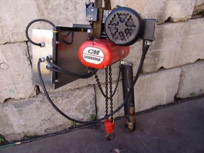 CM LODESTAR 1/2 TON ELECTRIC CHAIN HOIST with POWER TROLLEY  WORKS GREAT  #3
