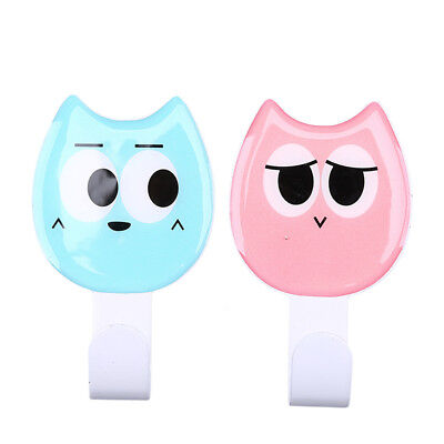 2x Cartoon Kitchen Bathroom Self Adhesive Sticky Hooks Wall Hanger Random Color