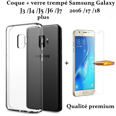 coque + verre trempé film protection samsung J3 J4 J5 J6 J7 plus 2016 2017 2018