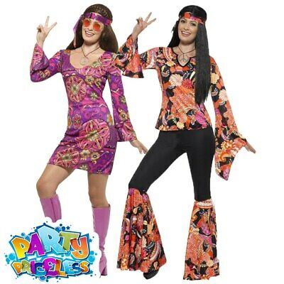 Ladies Hippie Costume Adult 60s 70s Hippy Flares Fancy Dress Womens Outfit