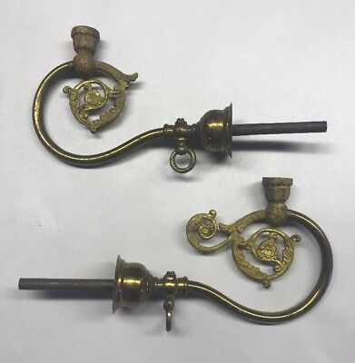 Pair Of Antique Gilt Bronze And Brass Gas Light Fixtures For Parts