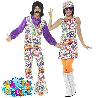 Mens Ladies 60s 70s Hippie Fancy Dress Adult Groovy Hippy Retro Peace Costume