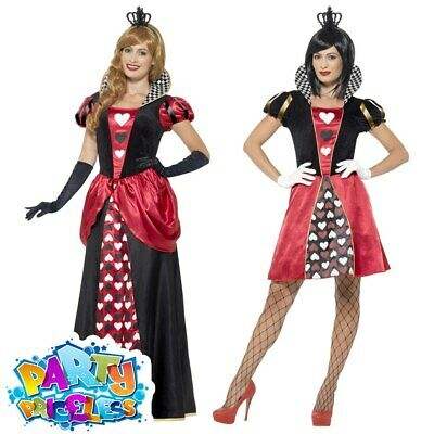 Ladies Queen of Hearts Costume Adult Fancy Dress Womens Outfit World Book Day