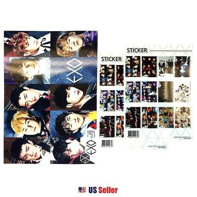 Kpop EXO High Quality Official Photo Poster & Sticker Set #14: Various 12 Sheets