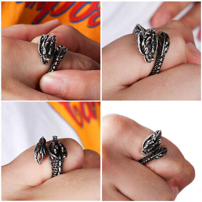Gift Men Jewelry Retro Luminous Ancient silver Adjustable Opening Dragon Ring
