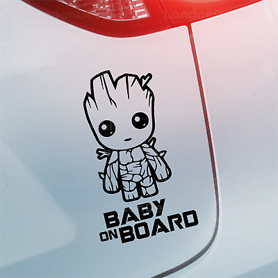 BABY ON BOARD -Car Window Bumper Vinyl Decal Sticker, Baby Groot, GotG