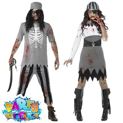 Adult Zombie Pirate Costume Mens Ladies Halloween Ghost Ship Fancy Dress Woman