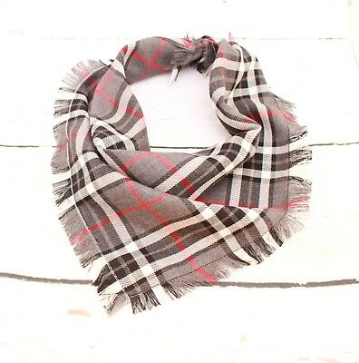 Frayed Charcoal & Red Plaid Puppy Dog Bandana - Tie on Classic Scarf