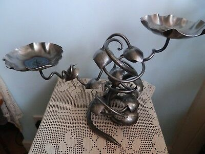 Large Hand Made Metal Candle Stick Candelabrum Candelabra Arts and Crafts