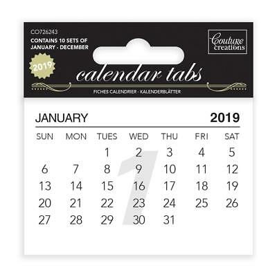 Couture Creations - Calendar Tabs 2019 (10 sets of 12 months) CO726243