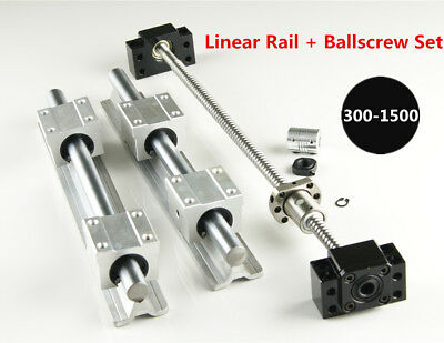 SBR16 Linear Rail L300-1500mm Set + SFU1204 Blallscrew Kit For CNC DIY