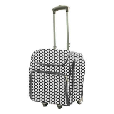 Couture Creations Craft Rolling Travel Trolley Tote Bag - White Spots