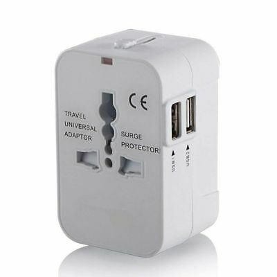 World Wide Universal Travel Adapter Multi Plug Charger with Dual USB 2Port White