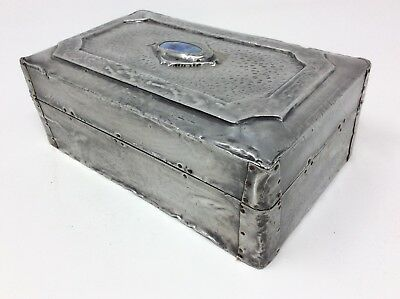 Antique Arts & Crafts Pewter Trinket Jewellery Box H6.5x  Wx 11x  L18 cms