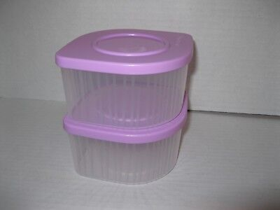 TUPPERWARE ~ Set of 2 ~ FRESH N COOL Refrigerator SMALL 2 cup CONTAINERS ~ NEW