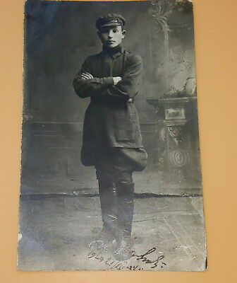 Russian Soldier Photograph signed and dated 1924 .