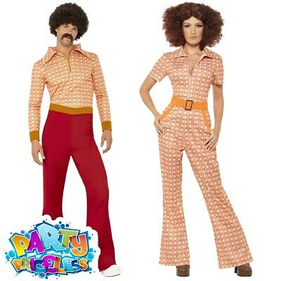 70s Authentic Costume Mens Womens Chic Guy Retro 1970s Disco Flares Fancy Dress