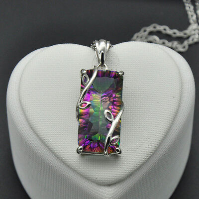 Women Necklace Artificial Diamond Leaf Rainbow Silver Chain With Pendant