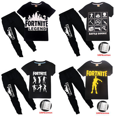 Kids Boys Game Fortnite Short Sleeve Shirt Tops+Pants A Suits 6-14 Years #8408#