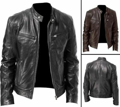 Men's Vintage Cafe Racer Black Brown Genuine Leather Slim Fit Retro Biker Jacket